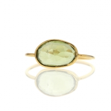 Green Tourmaline Open Back Gold Ring