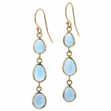 Triple London Blue Topaz Gold Earrings Image