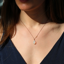 Ethiopian Opal Nylon Gold Cord Necklace Image