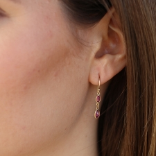 Tourmaline and Ruby 18k Gold Drop Earrings Image