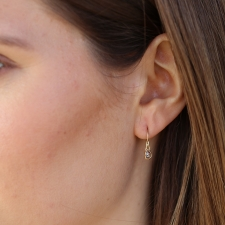 Small Teardrop Rose Cut Diamond Gold Drop Earrings Image
