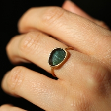 Green Tourmaline 18k Yellow Gold Large Ring Image