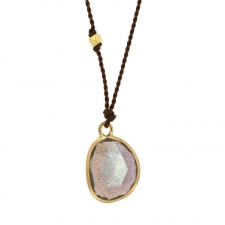 Labradorite Gold Drop Nylon Cord Necklace Image