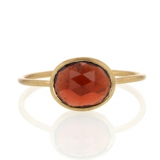 Faceted Oval Garnet 18k Gold Ring Image