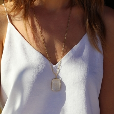 Golden Rutilated Quartz Cabachon Pendant (Chain Sold Separately) Image