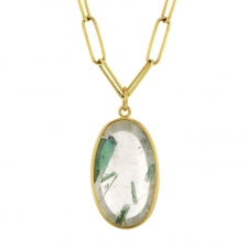 Green Tourmaline Floating in Quartz Pendant (Chain Sold Separate Image