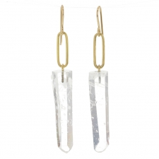 Columbia Quartz Gold Link Drop Earrings 2 Image