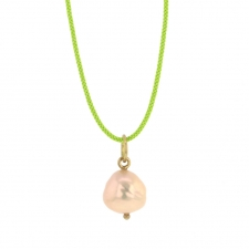 Metallic Pink Peach Pearl Drop on Cord Necklace Image