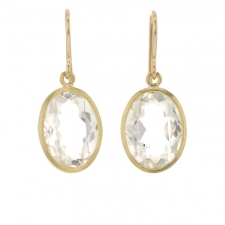 Oval Faceted Herkimer Diamond Quartz Gold Earrings Image