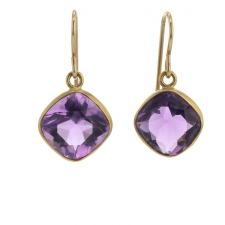 Amethyst Faceted Gold Earrings Image