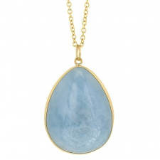 Milky Aquamarine 18k Gold Pendant (Chain Sold Separately) Image