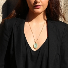 Green Beryl Faceted 18k Gold Pendant (Chain Sold Separately) Image