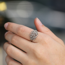 White Diamond Large Cluster 14k White Gold Ring Image