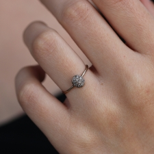 White Gold Diamond Button Ring Image