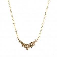 Gold Brown Diamond Cluster Necklace Image