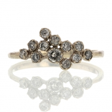 Gray Diamond Cluster White Gold Ring Image