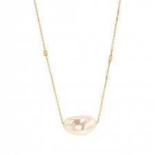 Keishi Pearl Gold Drop Necklace Image