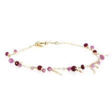 18k Gold Ruby Chain Bracelet Image