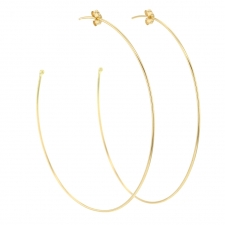 Extra Large Lightweight 18k Yellow Gold Hoop Earrings Image