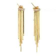 Medium 18k Gold Fringe Earrings with Pave Diamonds Image