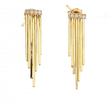 Short Gold Fringe 18k Gold Earrings Image