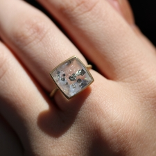 Quartz and Pyrite 18k Gold Rope Ring Image