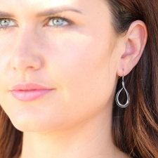 Brushed Silver Snake Hoop Earrings Image