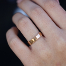 Wide Rose Gold Milgrain Minimal Band Image