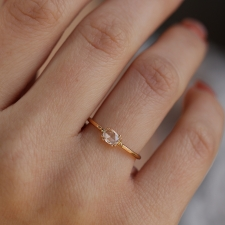 White Rose Cut Oval Diamond Rose Gold Ring Image