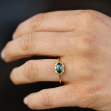 Tourmaline Blue Green Solitaire Gold Ring Image
