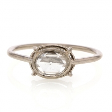 Oval Rose Cut 18k Palladium Gold Ring Image