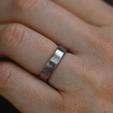 White Gold Beveled Minimal Band Image
