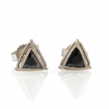 Triangular Black Diamond Slice Post Stud Earrings Image