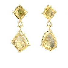 Yellow Diamond Slice Drop Post Earrings Image