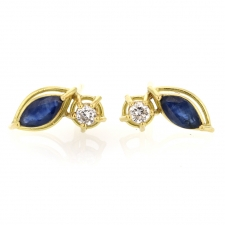 Marquis Blue Sapphire and Diamond Post Stud Earrings Image