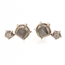 Dual Diamond Slice 18k Palladium White Gold Post Stud Earrings Image