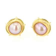 Pink Biwa Pearl Post Stud Earrings Image