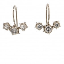 Diamond Cluster Drop 18k White Palladium Gold Earrings Image