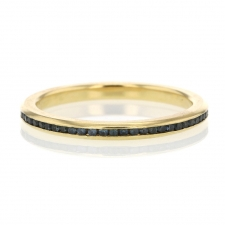 Sapphire Channel Set Eternity Band 18k Yellow Gold Ring Image