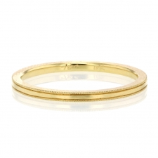 Thin Milgrain Minimal 18k Gold Band Image