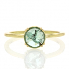 Round Rose Cut Emerald Solitaire Ring Image