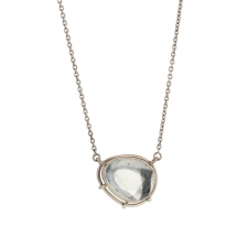 Aquamarine Pendant 18k Palladium Gold Necklace