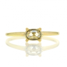 Rose Cut 18k Yellow gold Diamond Solitaire Ring Image