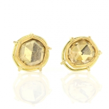 Gold Rose Cut Diamond Post Stud Earrings Image
