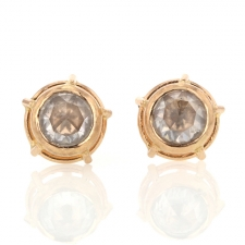 Rose Gold Rose Cut Diamond Earrings Image