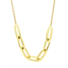 Gold Link Pendant Necklace Image