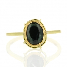 Blue Spinel Solitaire 18k Gold Ring Image