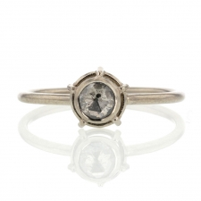 White Rose Cut Diamond 18k Palladium Gold Ring Image