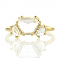 White Hexagonal Three Stone Diamond Gold Ring Image