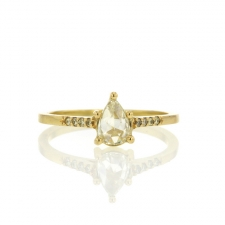 Rose Cut Diamond Gold Solitaire with Pave Shoulders Image